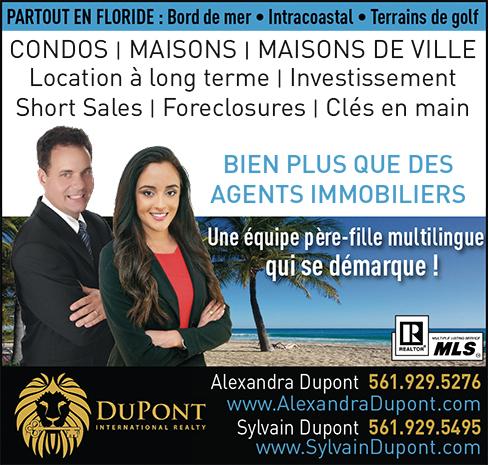 Alexandra Dupont et Sylvain Dupont, agents immobiliers en Floride