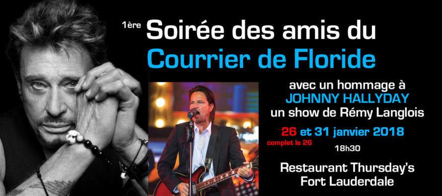 2 concerts hommages à Johnny Hallyday à Fort Lauderdale (et soirées des amis du Courrier de Floride)