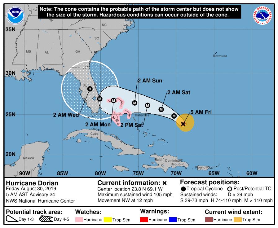 Ouragan Dorian vendredi à 6h